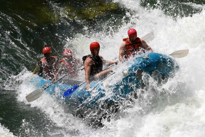 Rafting the rapids of the Zambezi River